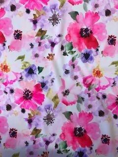 Nylon Spandex Print - Romantic Flowers