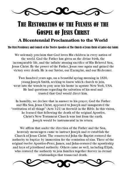 Restoration Proclamation 5x7 Print