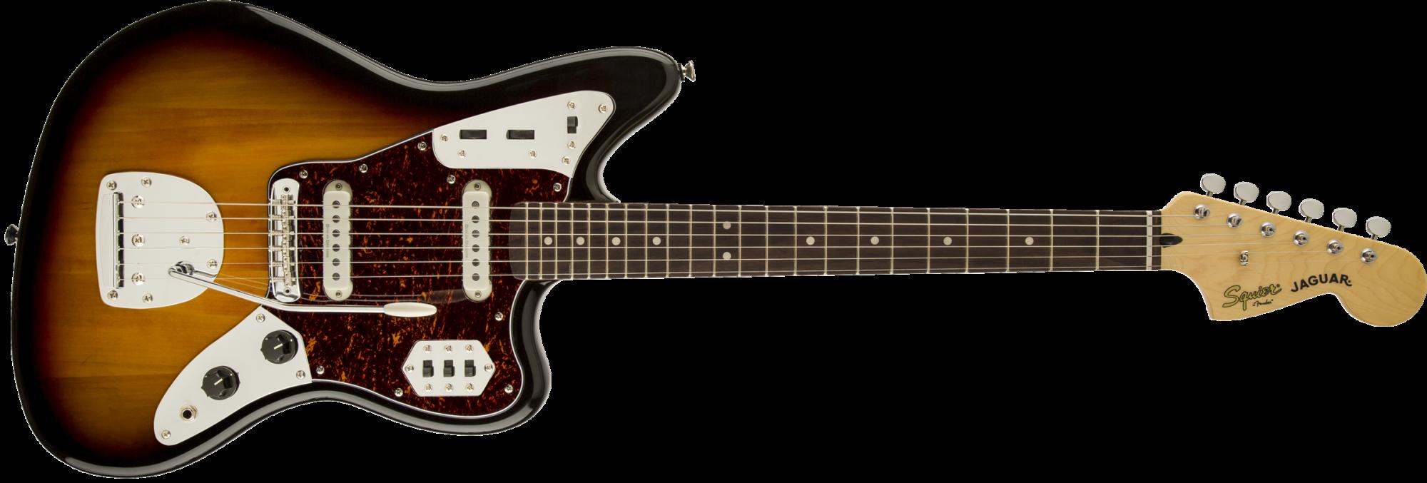 Squier Vintage Modified Jaguar Guitar - Rosewood Fingerboard - 3-Color Sunburst