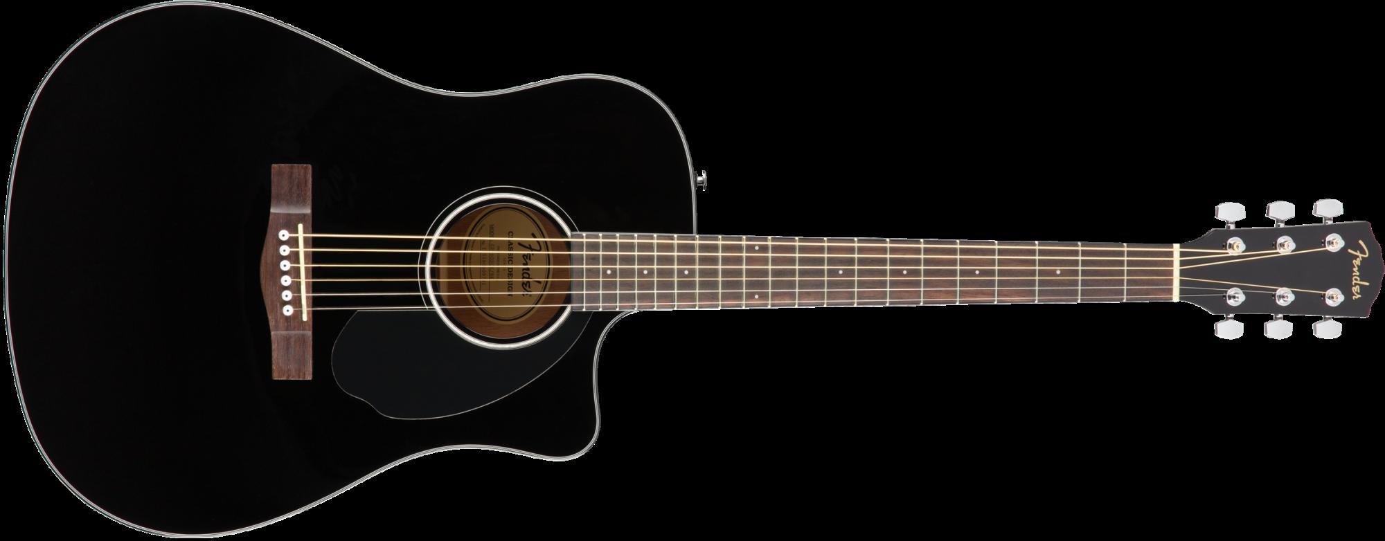 Fender CD-60SCE Dreadnought Acoustic Guitar - Walnut Fingerboard - Black