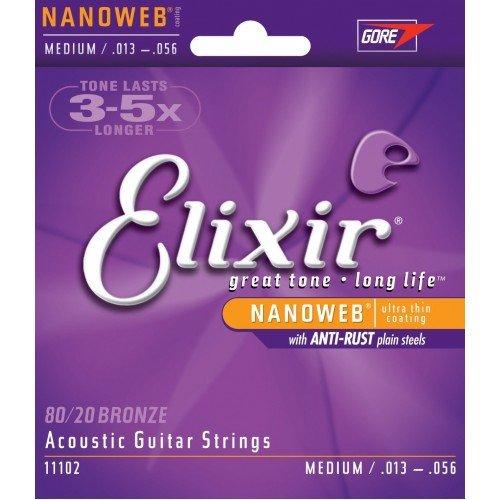 Elixir Strings 11027 Nanoweb 80/20 Bronze Custom Light Acoustic Guitar Strings