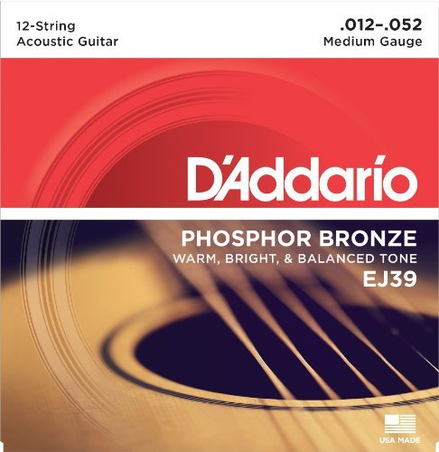 D'Addario EJ39 Phosphor Bronze 12-String Medium Acoustic Guitar Strings