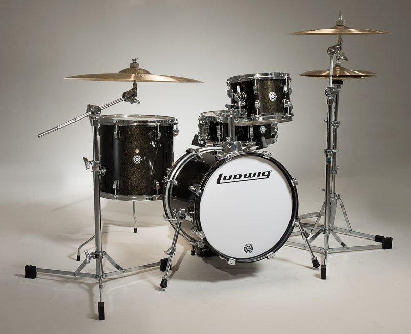 Ludwig Breakbeats 4 Piece Drum Shell Pack w/ Riser - Black Sparkle
