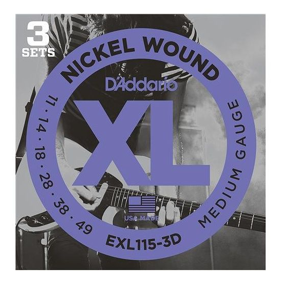 D'Addario EXL115-3D Nickel Blues/Jazz Electric Guitar Strings 3-Pack
