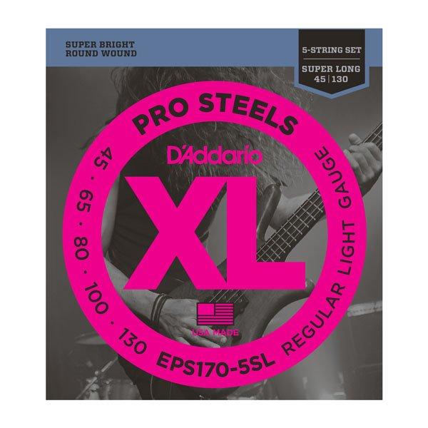 D'Addario EPS170-5SL XL ProSteels Regular Light Super Long Scale 5-String Bass Strings