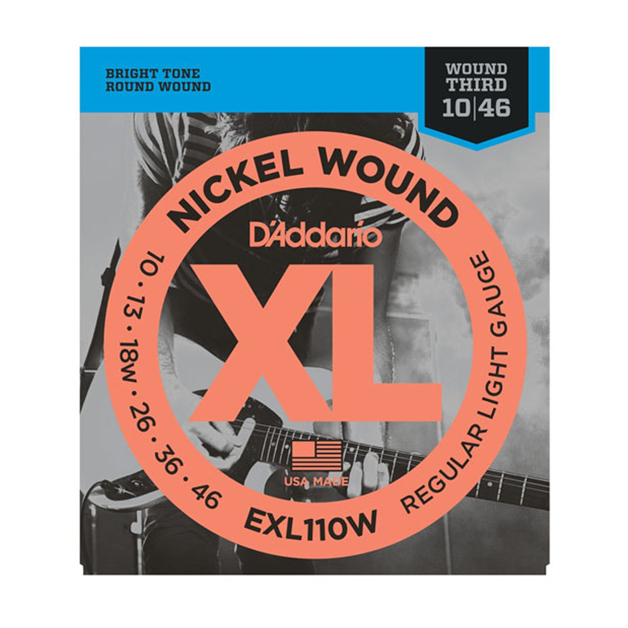 D'Addario EXL110W Nickel Regular Light Electric Guitar Strings - Wound 3rd