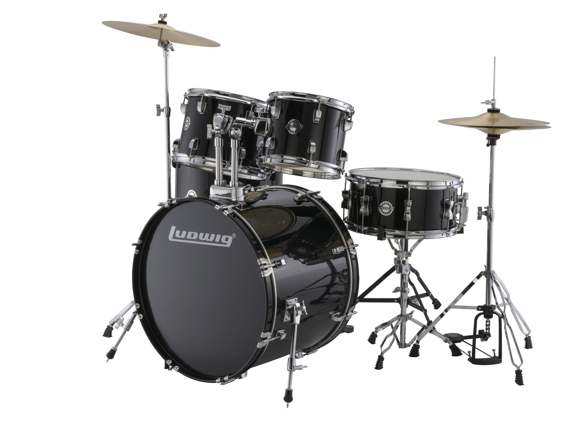 Ludwig LC1701 Accent Fuse 5-Piece Drum Kit w/ Hardware, Cymbals, & Throne - Black