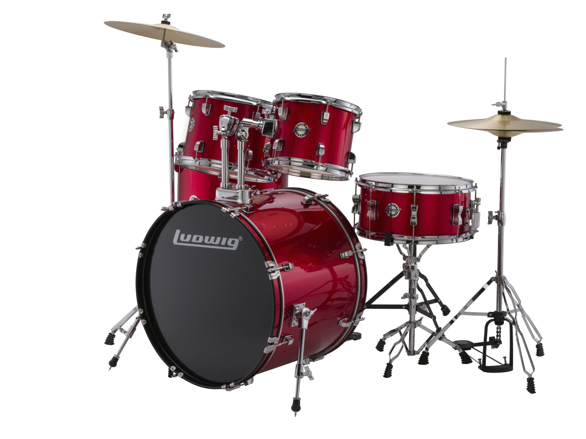 Ludwig LC17014 Accent Fuse 5-Piece Drum Kit w/ Hardware, Cymbals, & Throne - Red Foil