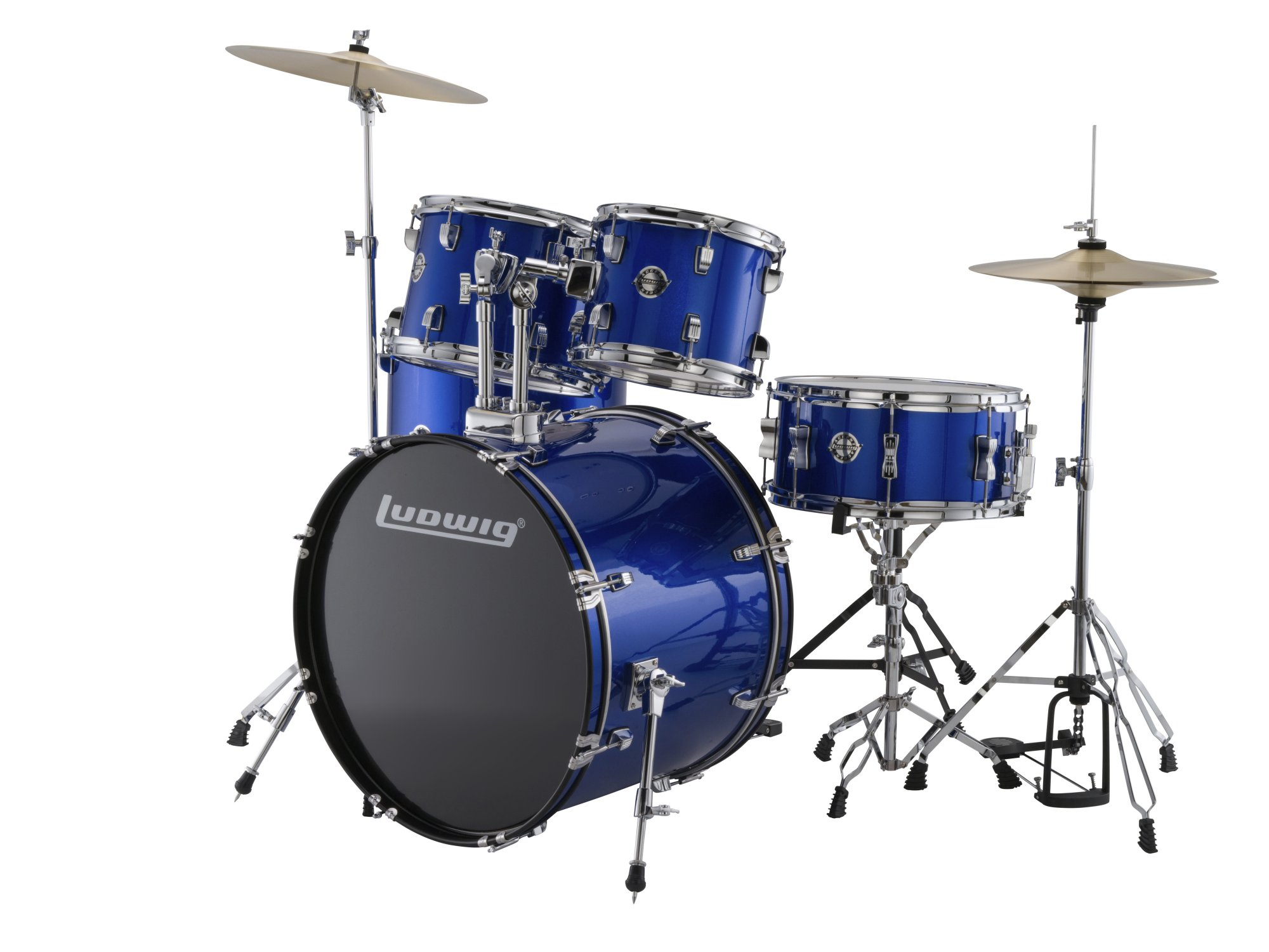 Ludwig LC17019 Accent Fuse 5-Piece Drum Kit w/ Hardware, Cymbals, & Throne - Blue Foil
