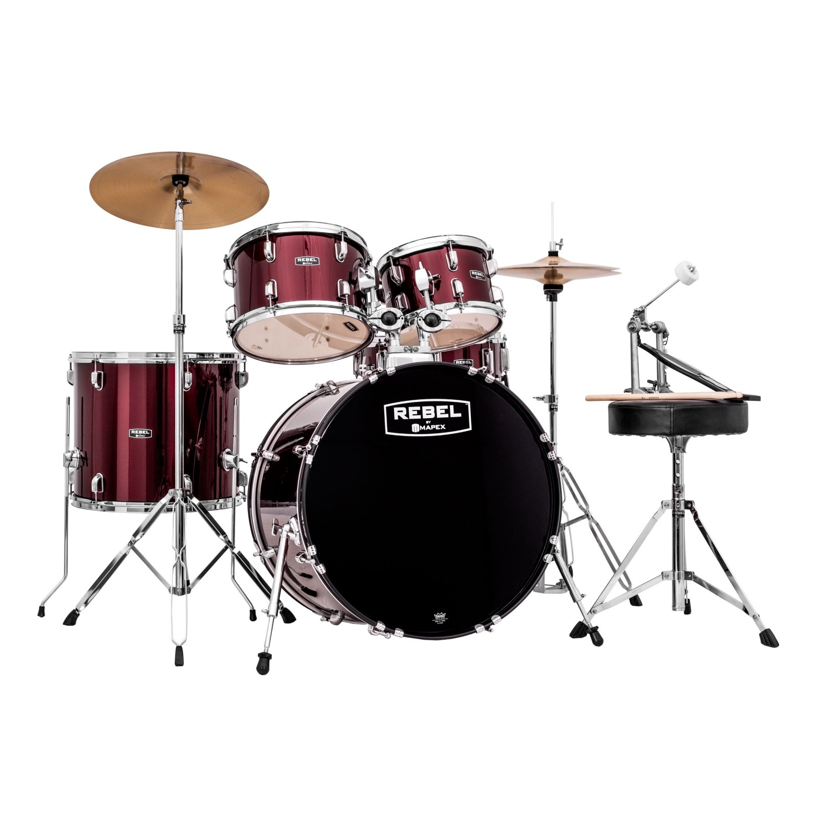 Mapex Rebel 5-Piece SRO Complete Drum Set - Dark Red