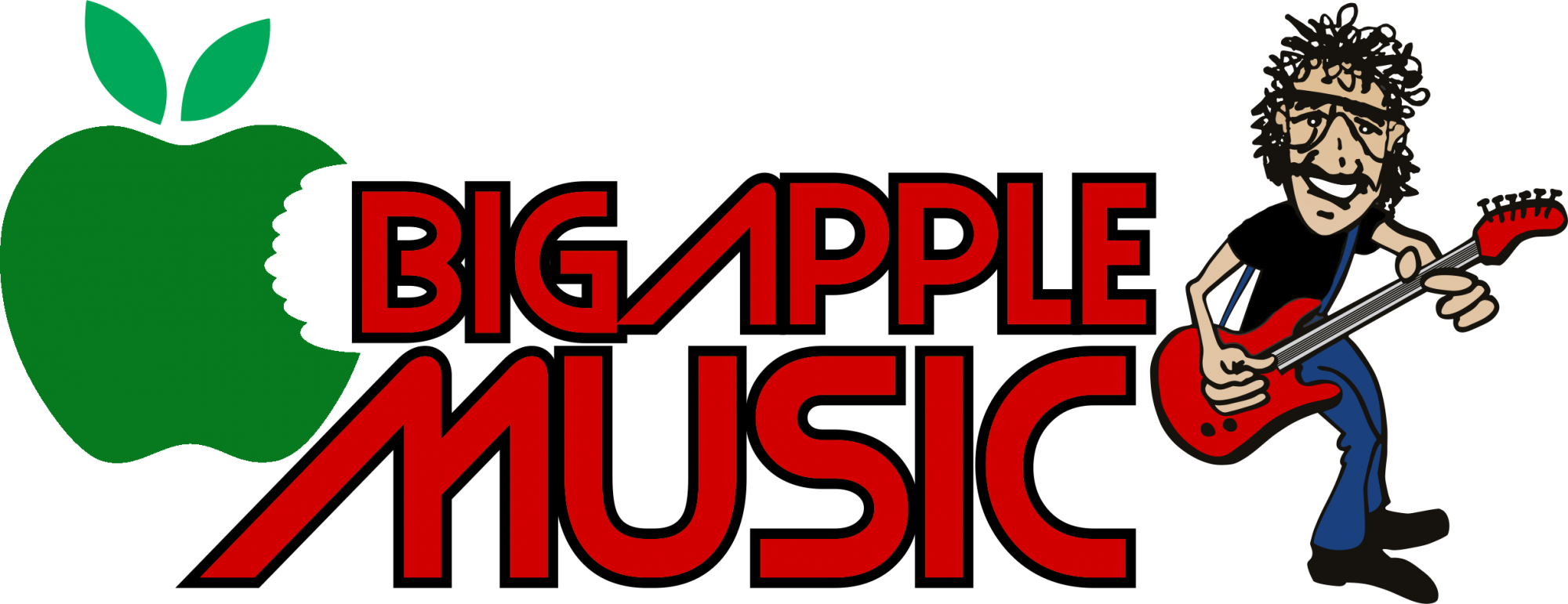 Big Apple Music Logo with Green apple with bite out of it and drawing of cartoon man playing guitar