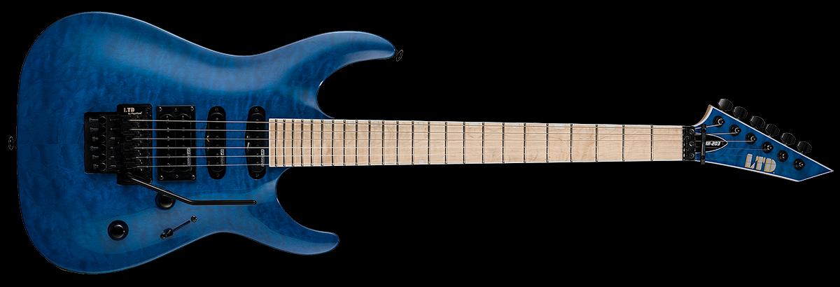 ESP LTD MH-203QM Electric Guitar - See Thru Blue