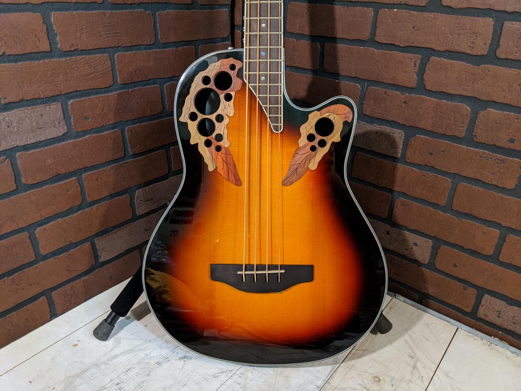Ovation CEB44-1N Acoustic Electric Bass - New England Burst