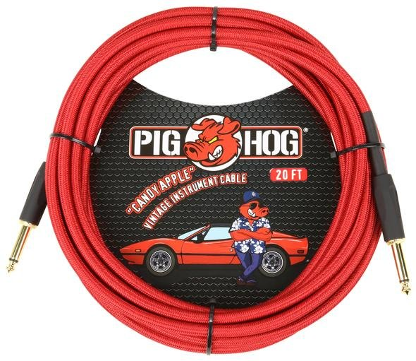 Pig Hog Braided Instrument Cable - 20ft - Candy Apple