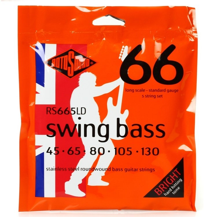 Rotosound RS665LD Swing Bass 66 Stainless Steel Roundwound 5-String Bass Strings Long Scale