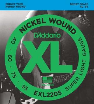 D'Addario EXL220S XL Nickel Super Light Short Scale Electric Bass Strings