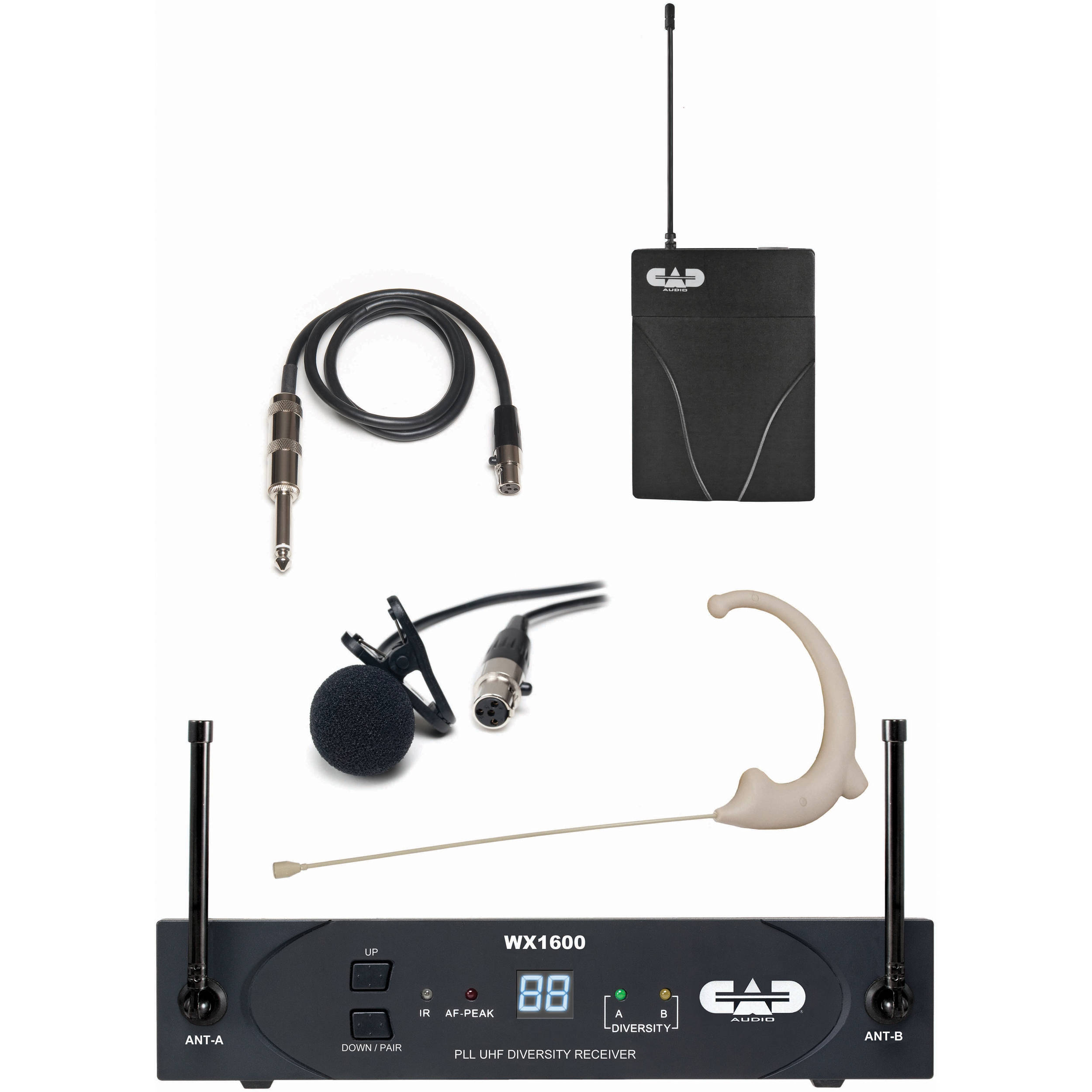 CAD WX1610 StagePass Wireless Bodypack System with Lavalier Earworn Mic and Guitar Cable