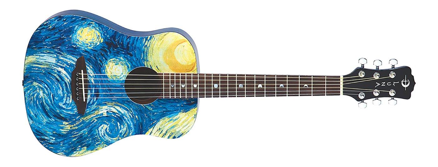 Luna Safari Starry Night Travel Guitar w/Gigbag