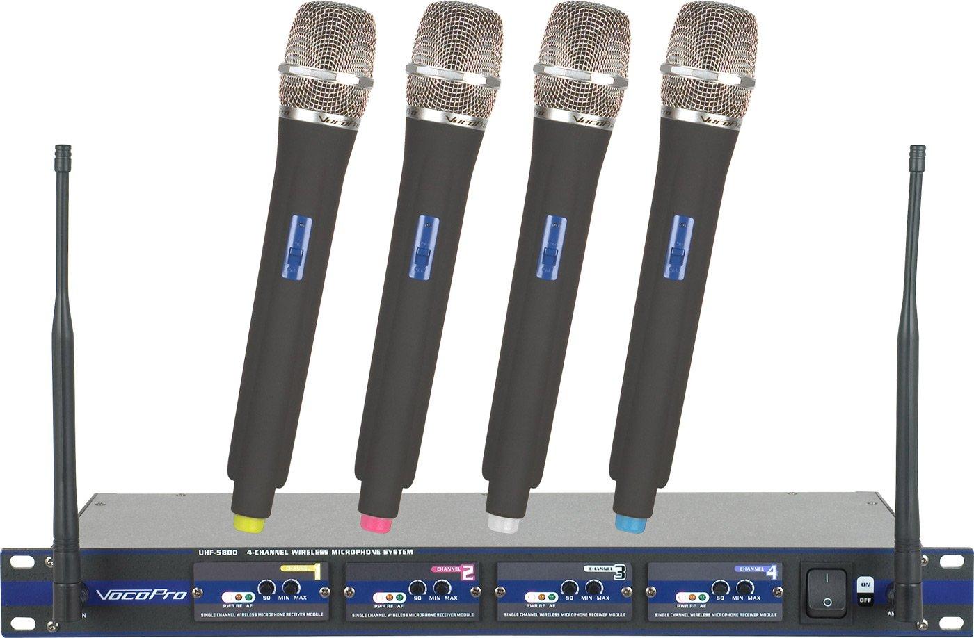 VocoPro UHF 4-Channel Wireless Microphone System