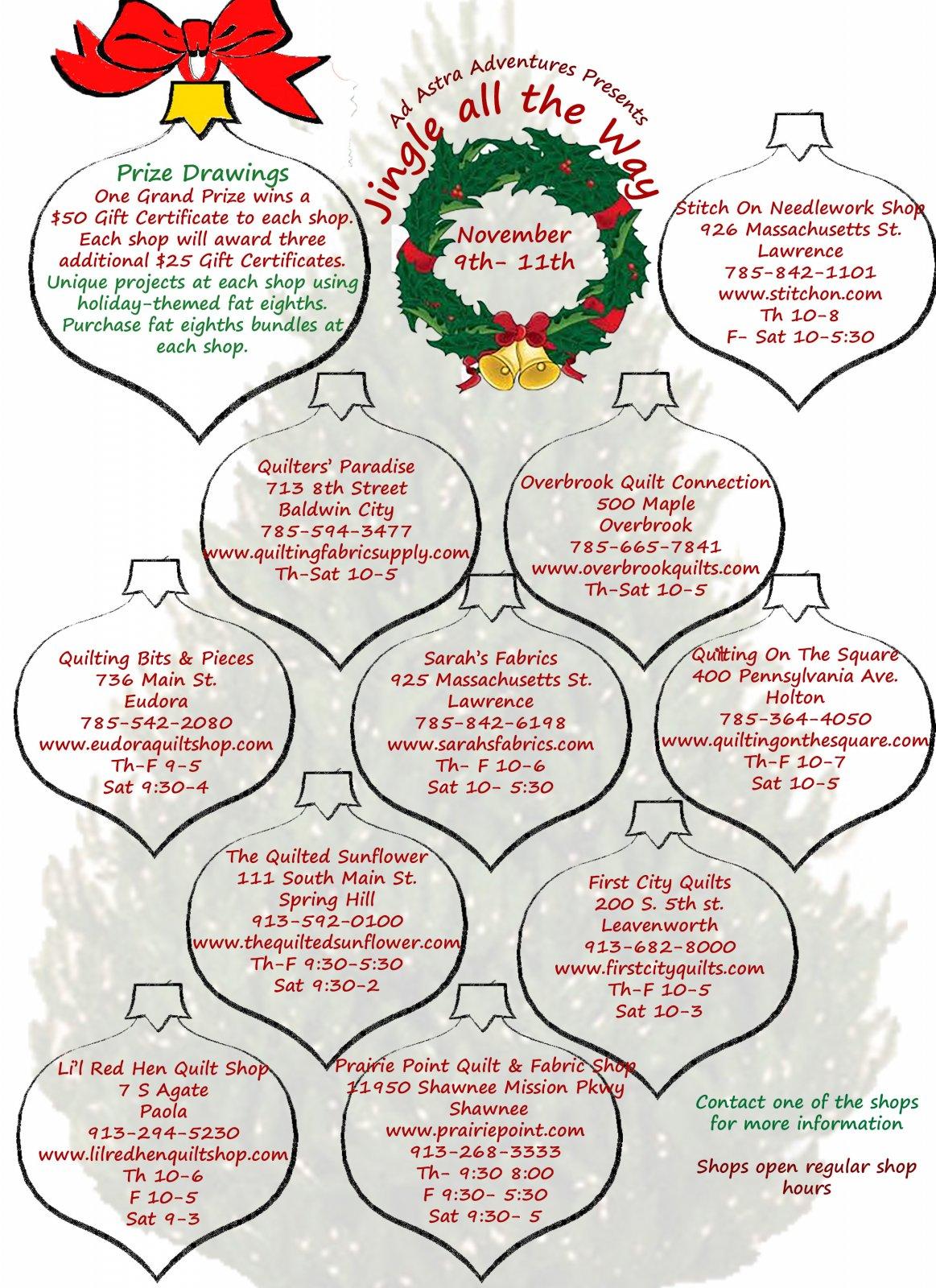 Ad Astra Adventures presents the.... Jingle All the Way Quilt Shop Hop : 200 quilt shops - Adamdwight.com