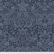 Navy Strawberry Thief Wideback Backing (108 Wide)