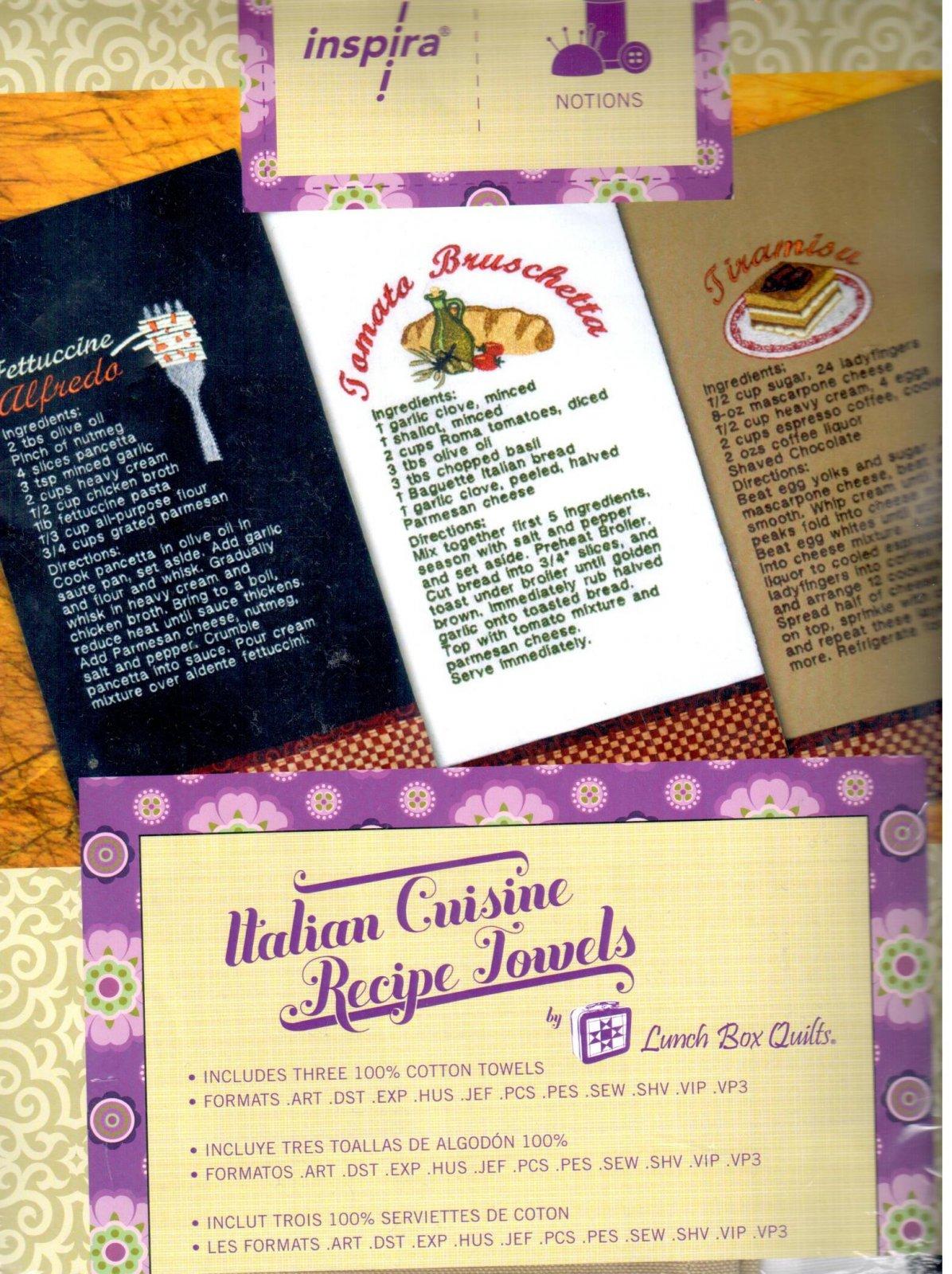 Inspira Italian Cuisine Recipe Towels Embroidery Designs