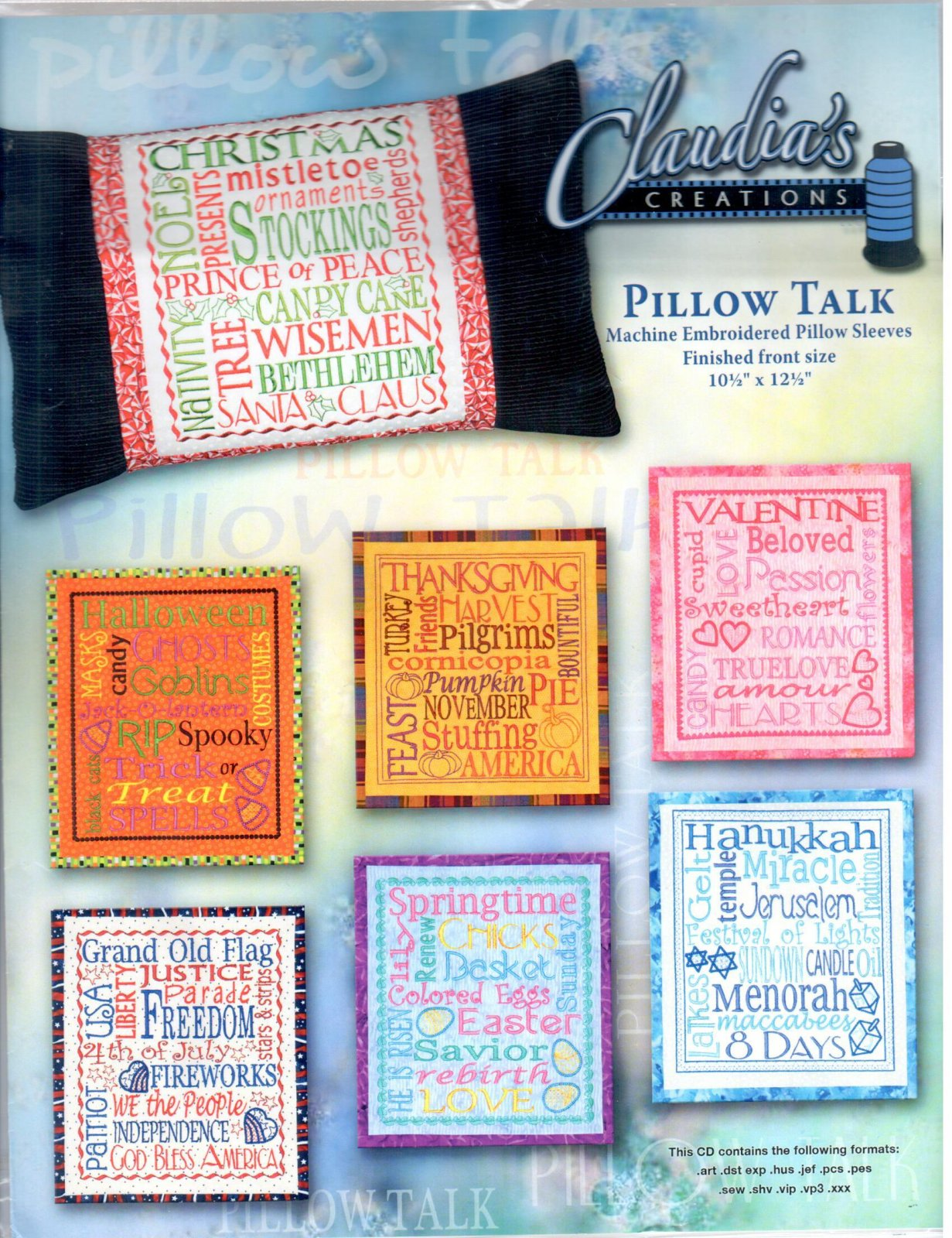 Pillow Talk Embroidery Designs by Claudia's Creations