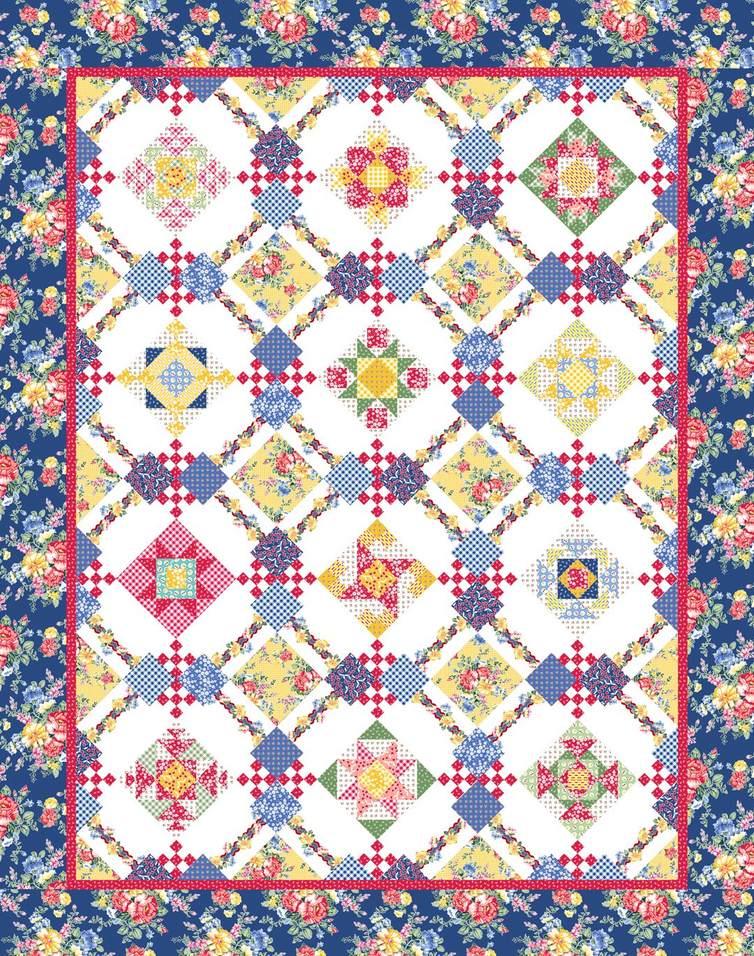 Cherry Lemonade Quilt 80 x 101