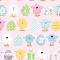 Some Bunny Loves You 8957-01 Pink Spring Birds & Eggs
