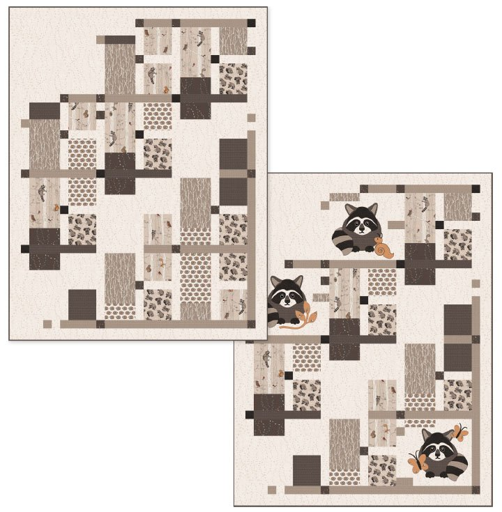 Raccoon Playground Quilt Kit (with Raccoons)