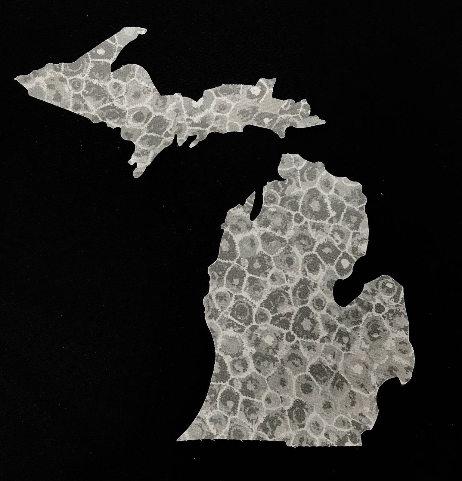 Petoskey Stone Fabric  - Large State of Michigan Cutout