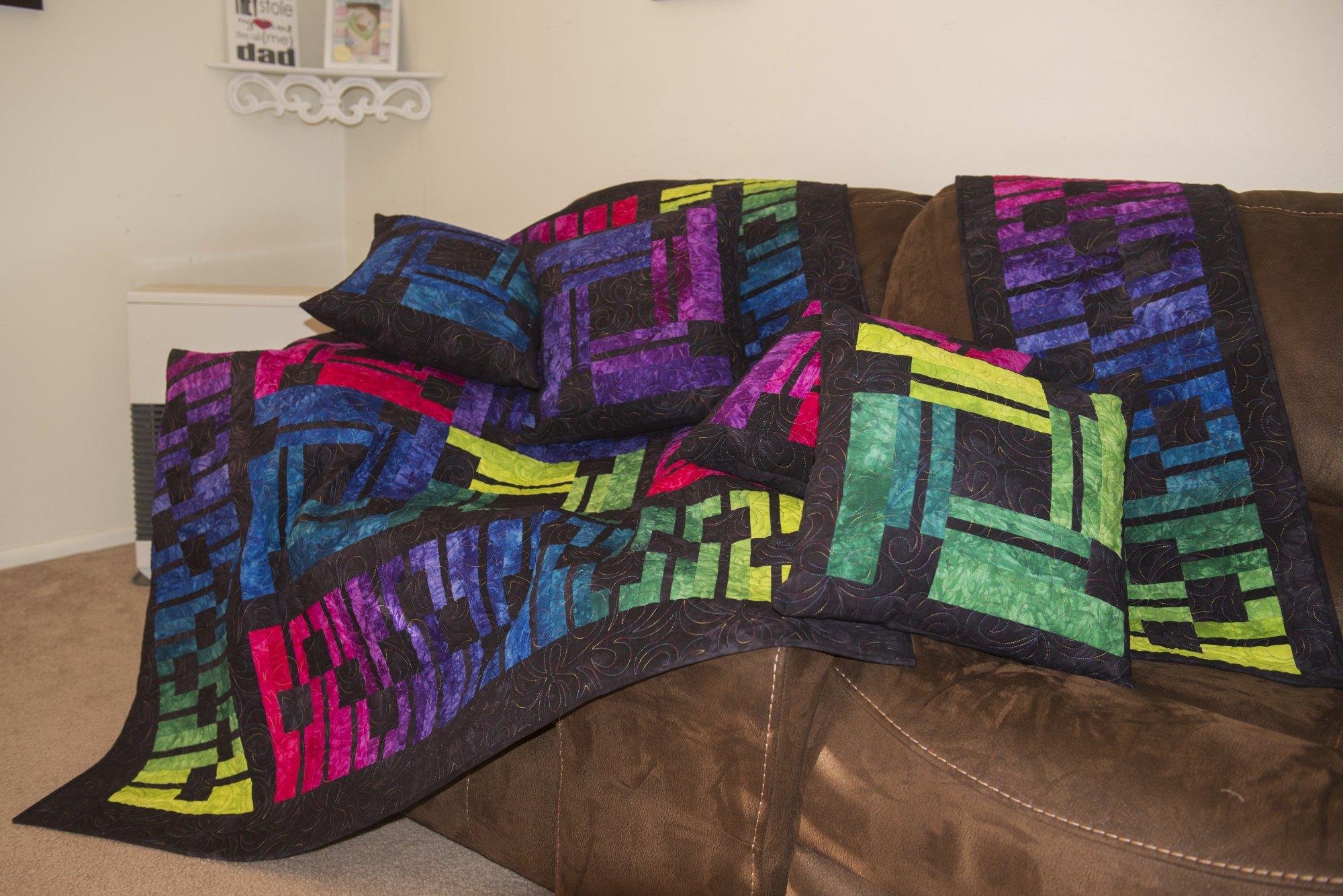 Soundwavez Quilt, Runner and Pillows Kit ~ Dark Jewels