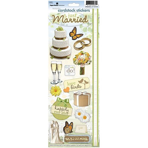 JUST MARRIED CARDSTOCK STICKERS