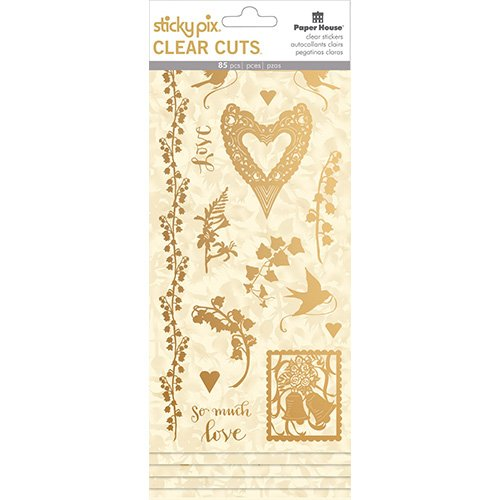 GOLD WEDDING STICKY PIX CLEAR CUTS STICKERS