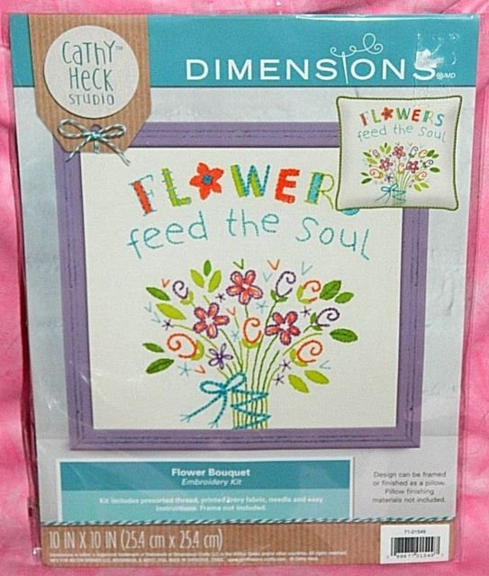 Flowers Feed the Soul Flower Bouquet Embroidery Kit By Cathy Heck Studio