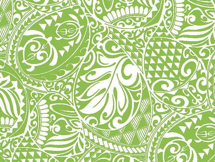 Sage Green tribal Hawaiian print
