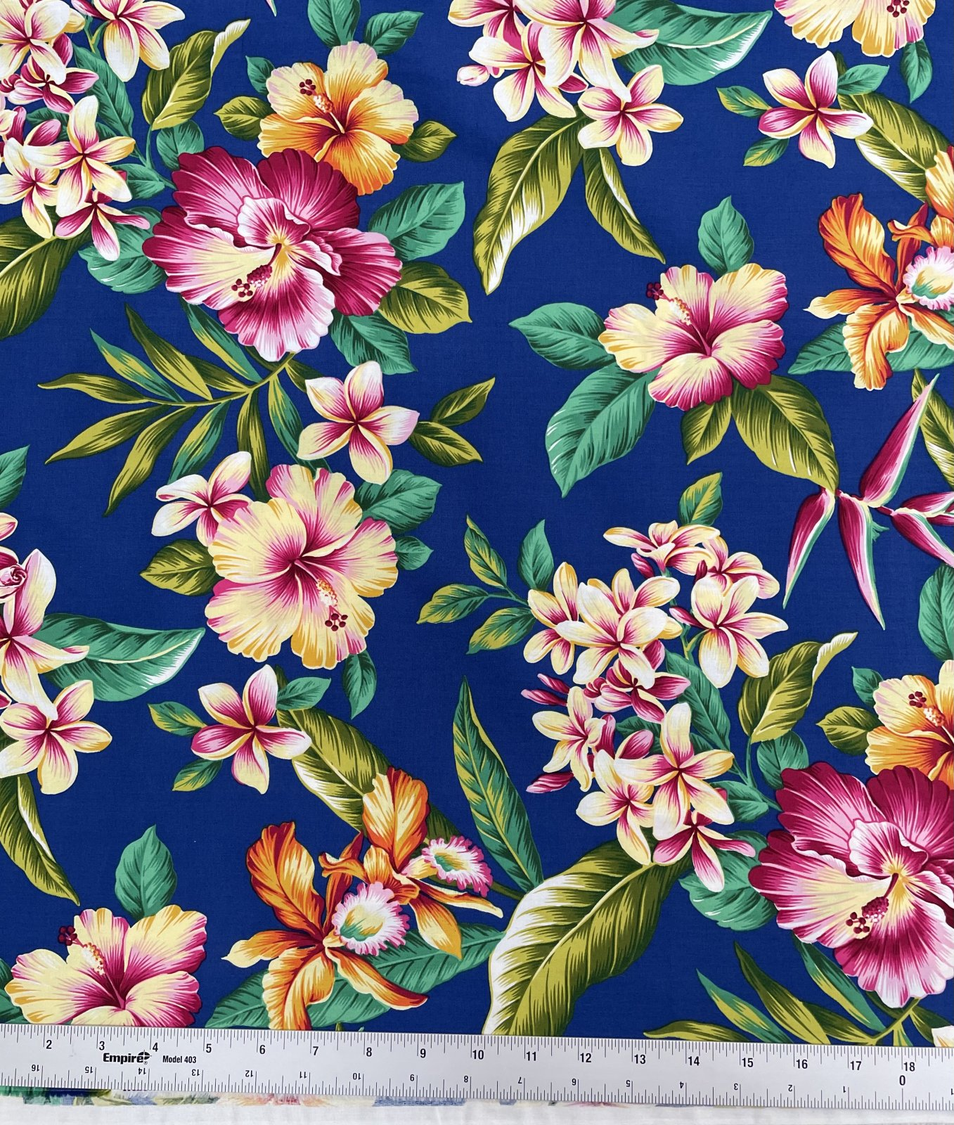 Hibiscus and plumeria on Royal Blue