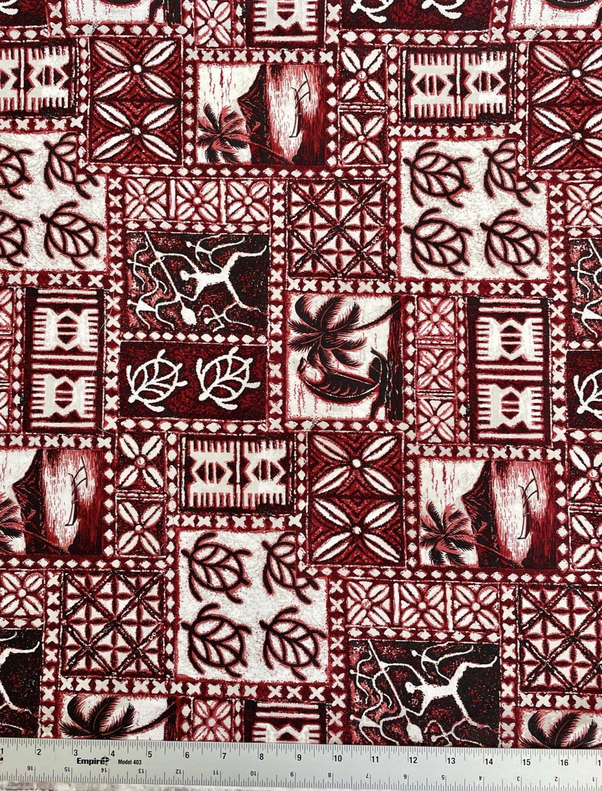 kapa tribal print on burgandy