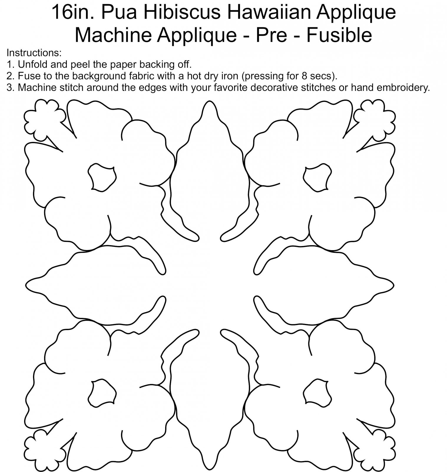 16in. Pua Hibiscus Laser Cut Fusible Applique