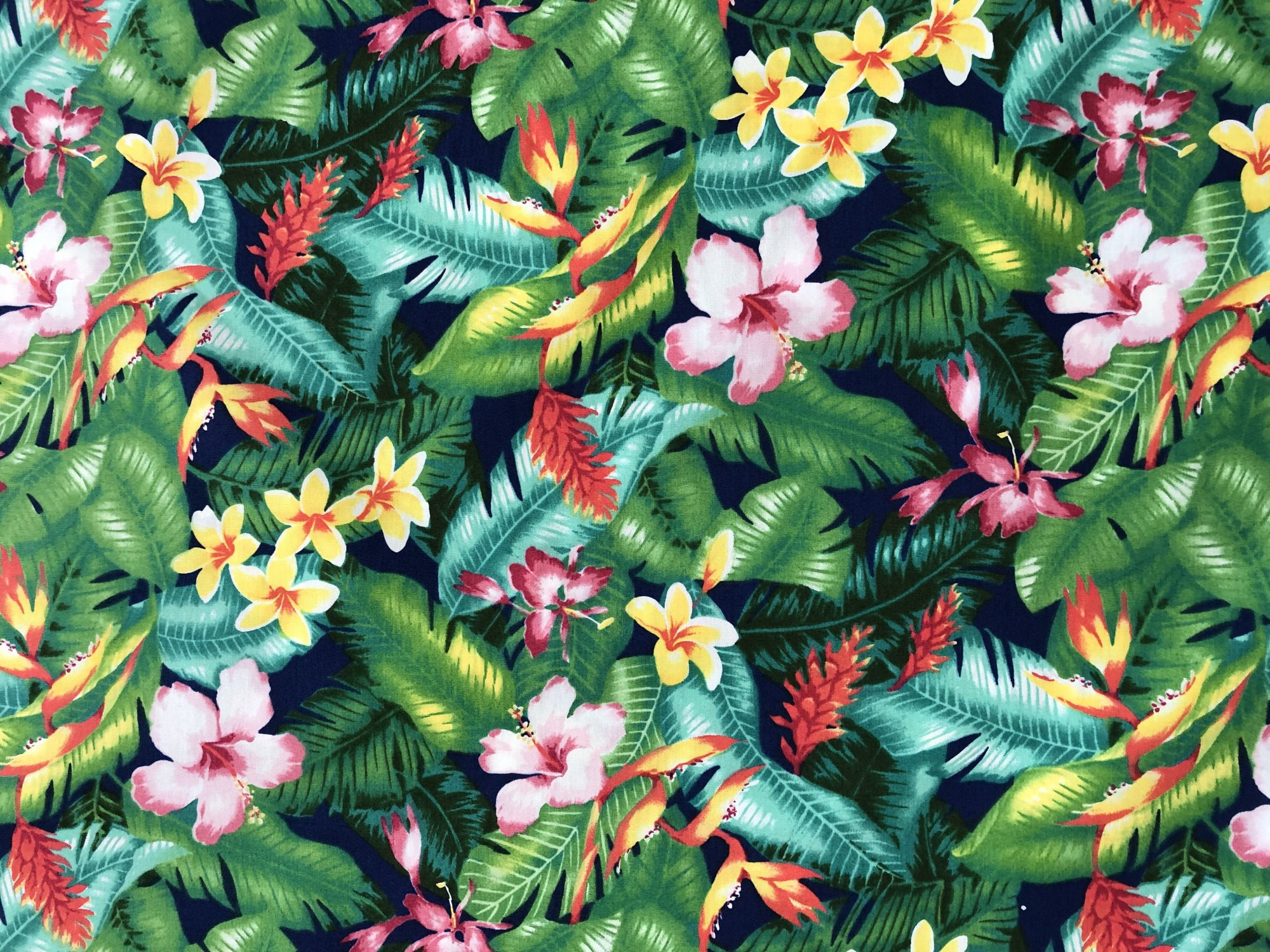 Hawaiian flowers on Navy