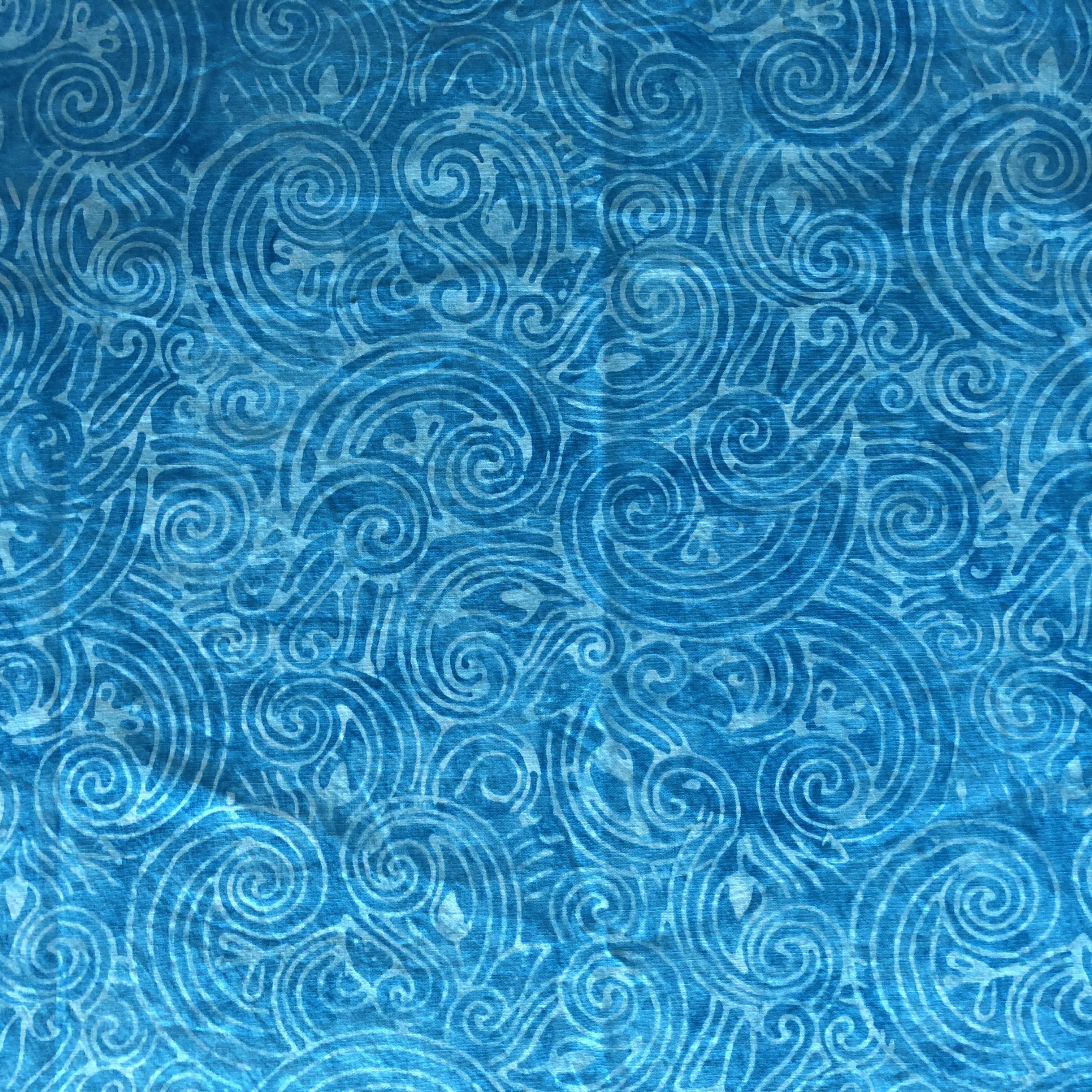 Aqua Scrolls Batik