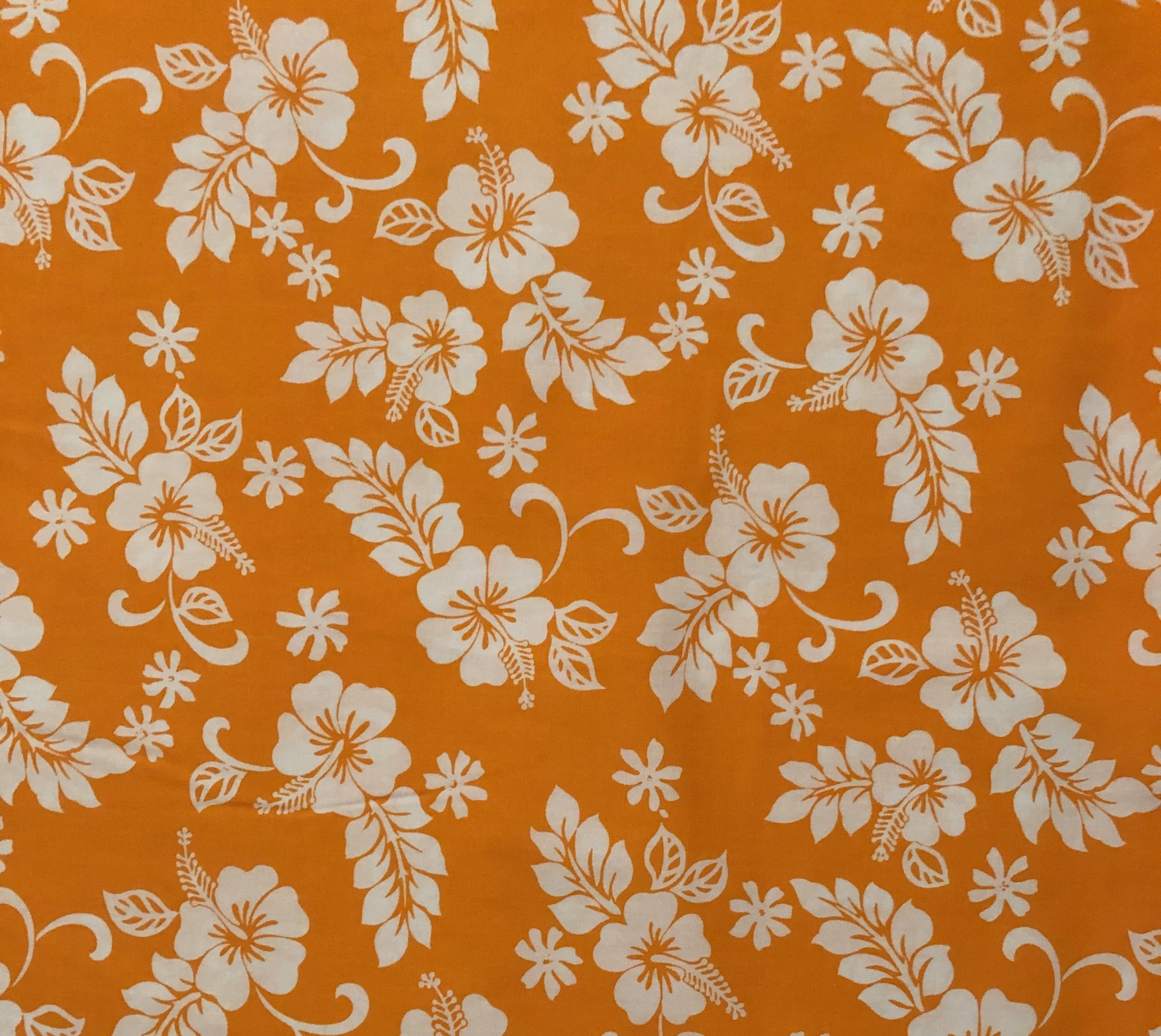 Bright Orange Pareau Hawaiian Print