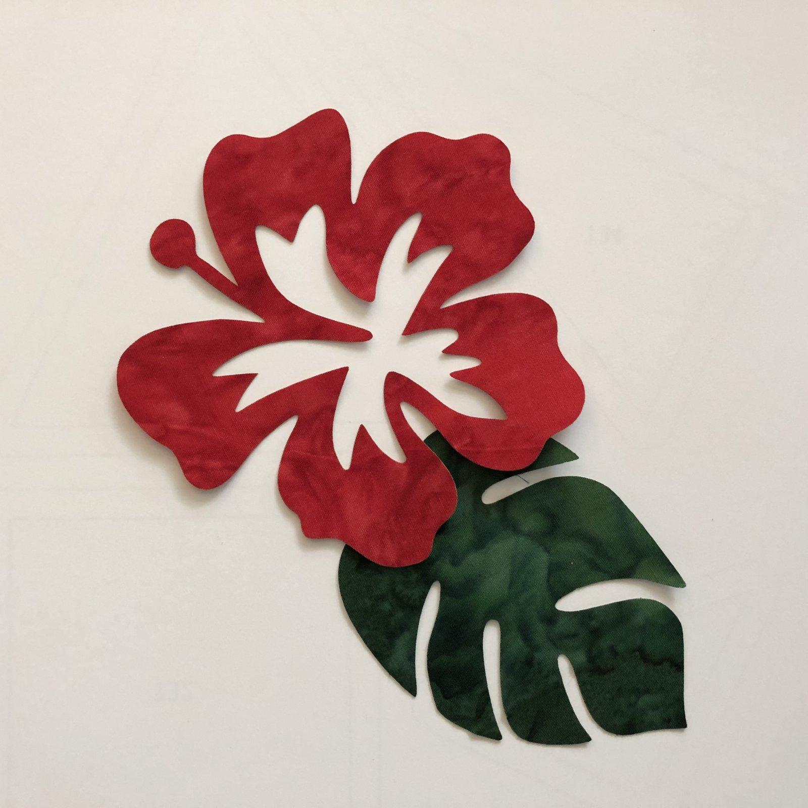 Mini Hibiscus & Leaves Fusible Appliques
