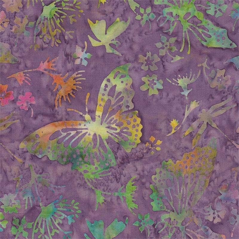 Purple Butterfly Batik Color me Happy
