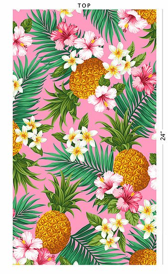 Flowers and pineapple on Pink