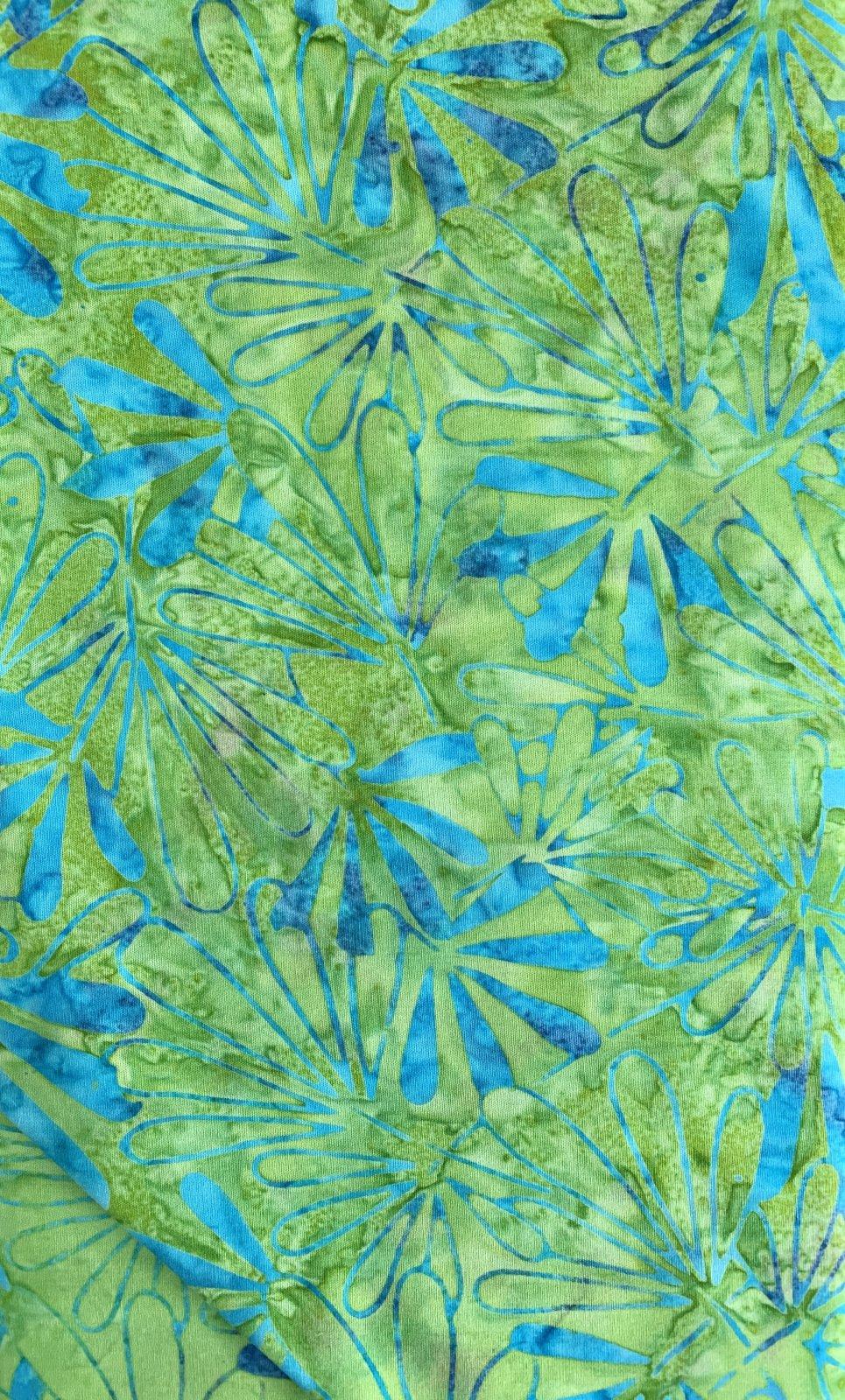 Green grass aqua flower batik