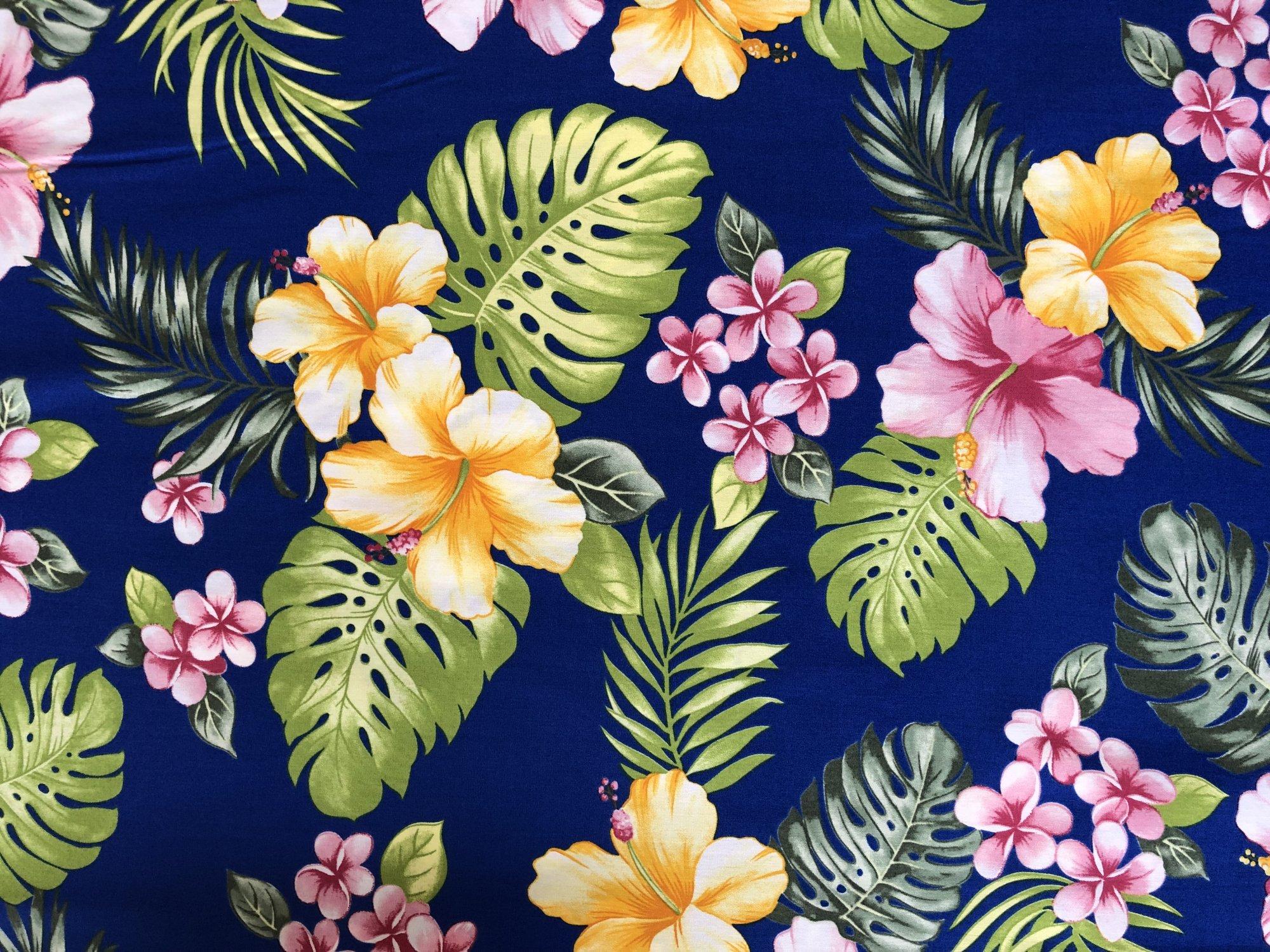 Hawaiian Floral Hibiscus on Blue