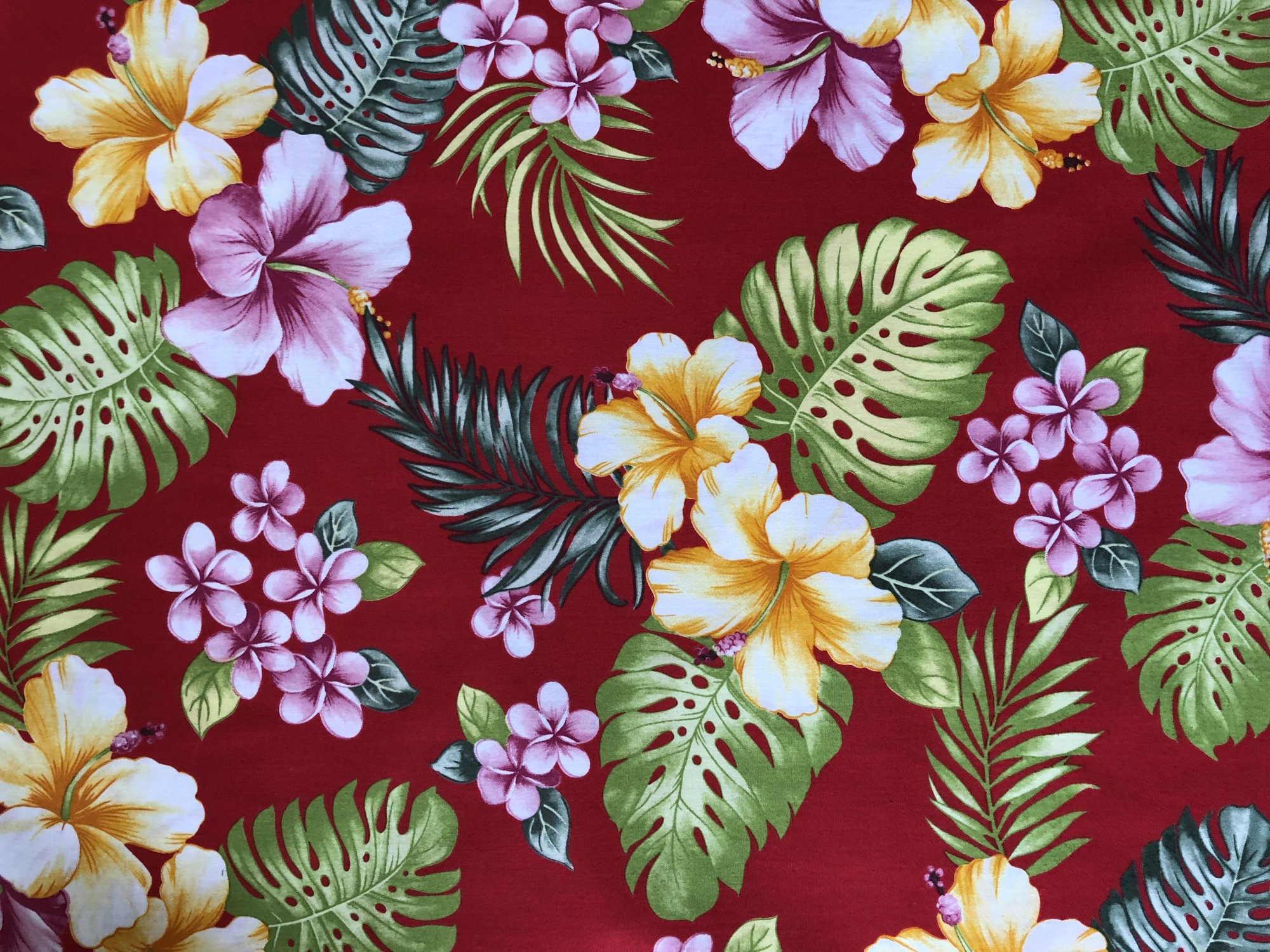 Hawaiian Floral Hibiscus on Red