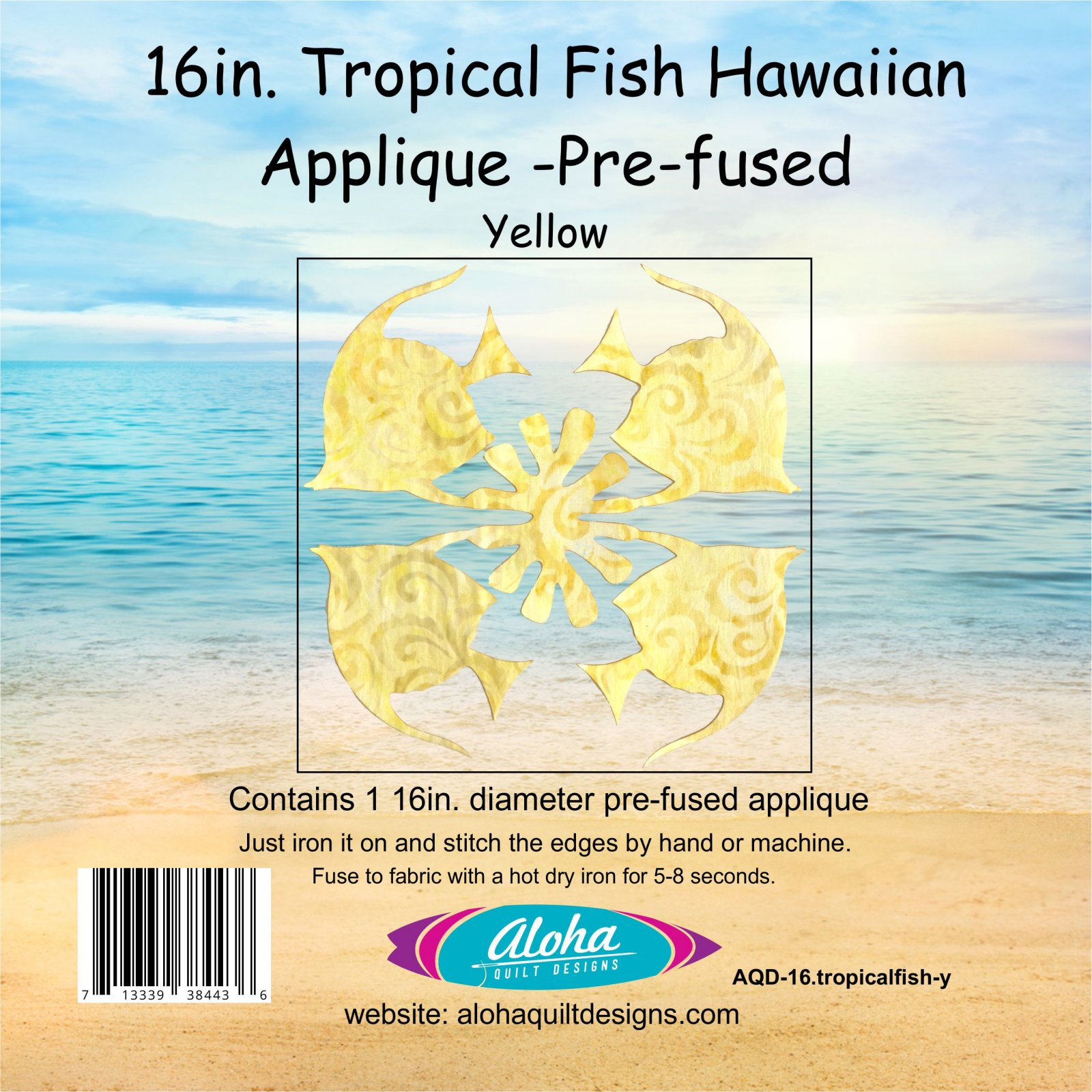 16in. Tropical Fish Hawaiian Applique Needle Turn