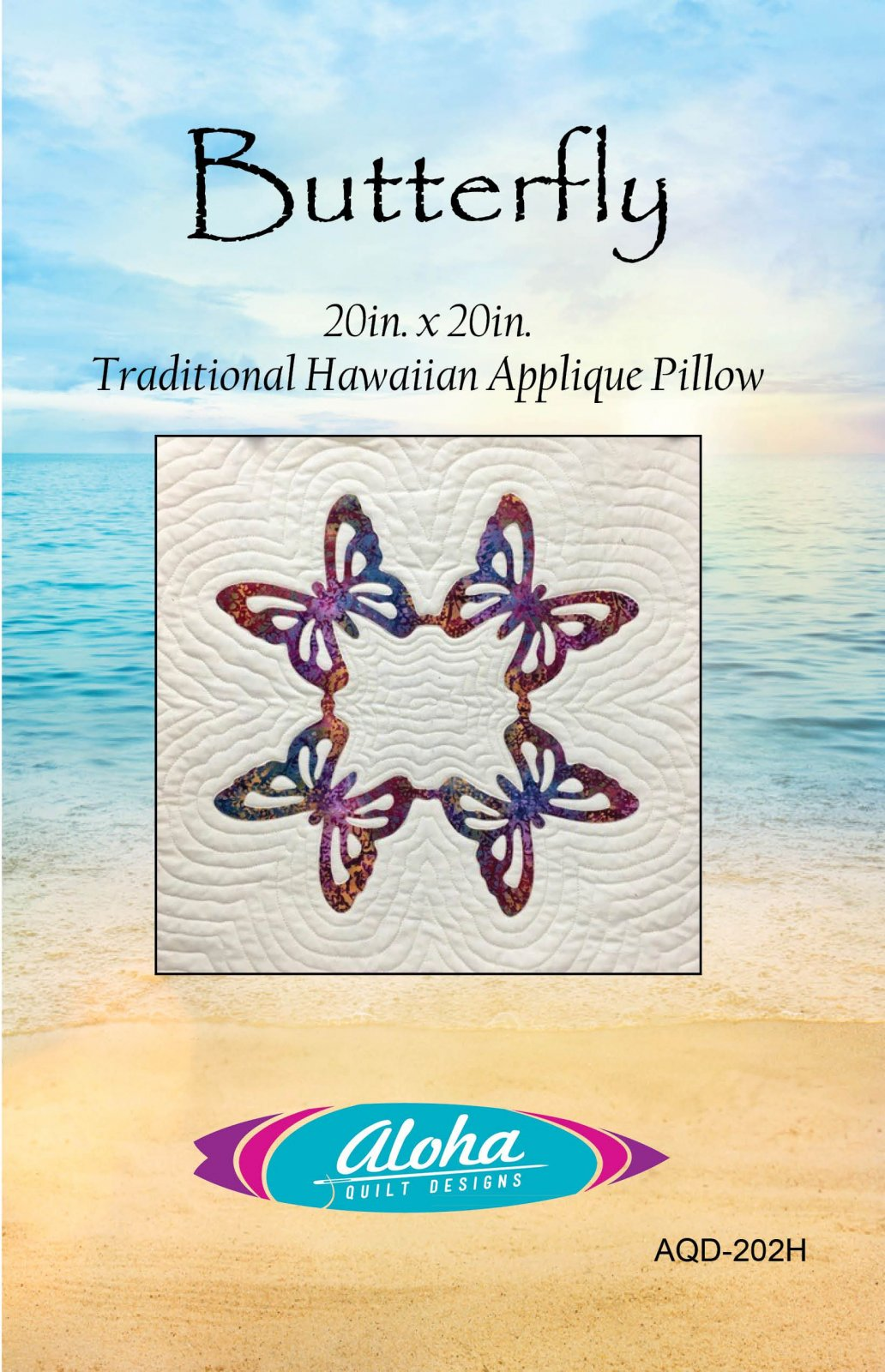 Butterfly Hawaiian Applique Pillow Pattern- Digital